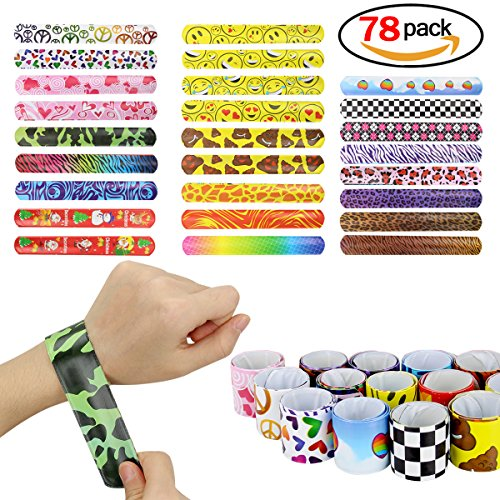 YaphteS Slap Bracelets birthday party supplies with colorful hearts emoji animals best for school classroom kids Emoticon wristband party favors