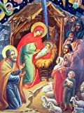 Catholic Orthodox Wood Nativity Scene Triptych Russian Icon Christ Virgin Mary Nativity of Christ 7 1/2 Inch