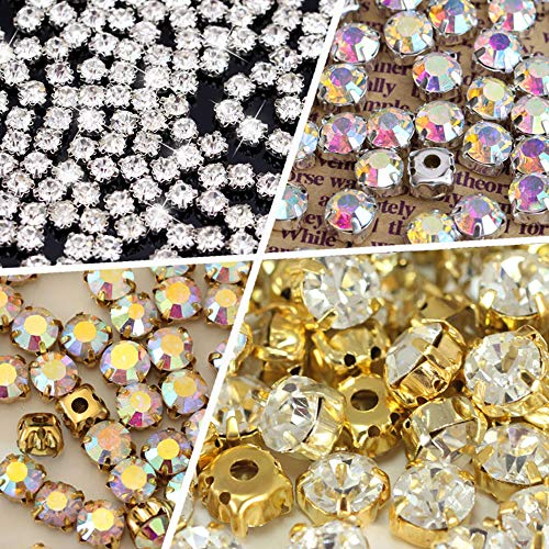BLINGINBOX 10mm 100pcs Glass Rhinestone Sew-on Silver Plated Brass Base Prongs Cup with 5 Holes(Crystal AB - Silver - Crystal Swarovski Strass Brass