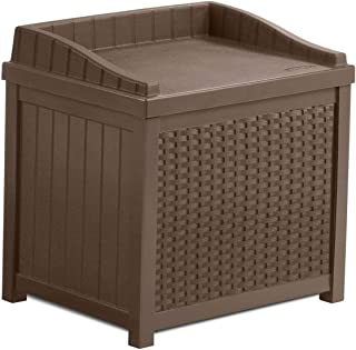 product image for Suncast SSW1201 22 Gallon Resin Wicker Outdoor Storage Deck Box with Seat, Java