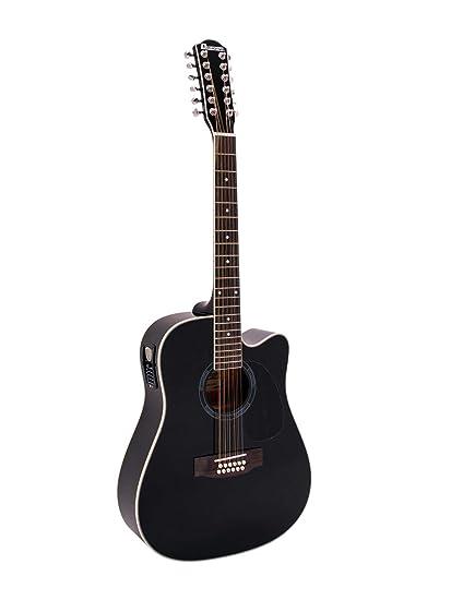 Guitarra acústica TENVER de 12 cuerdas de acero, negro - Aspecto ...
