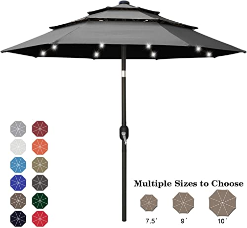 ABCCANOPY 10FT Solar 3 Tiers Market Umbrella Patio Umbrella Outdoor Table Umbrella with 32 LED Ventilation and Push Button Tilt for Garden, Deck, Backyard and Pool,8 Ribs Drak Gray