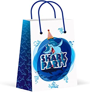 LARZN Premium Shark Party Bags, New,Treat Bags, Gift Bags ,Goody Bags, Shark Party Favors , Shark Party Supplies, Decorations, 12 Pack