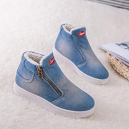 ❤ Zapatos de algodón de Mezclilla para Mujeres, Mujeres Carta de Mezclilla con Cremallera Gruesas cálidas Botas de Nieve Planas de Invierno Zapatos de ...