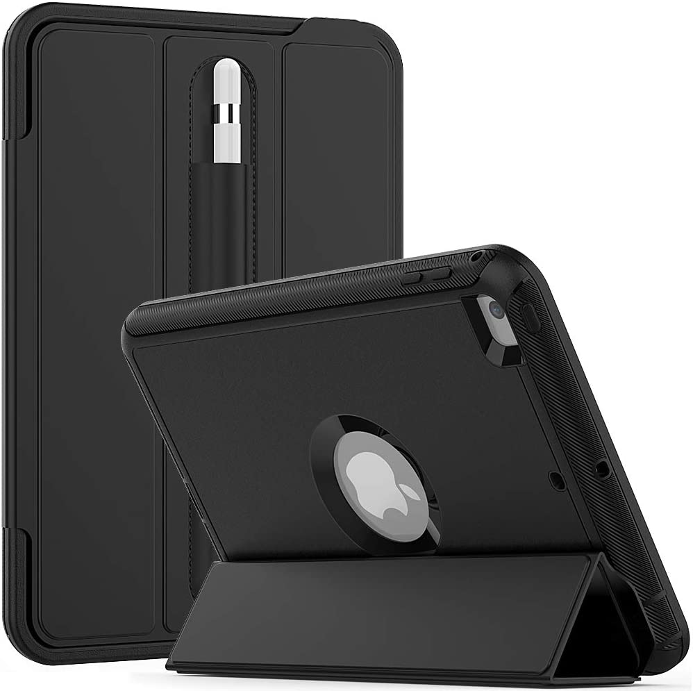 sevrok iPad Mini 5 Case, iPad Mini 4 Case Slim Full-Body Shockproof Defender Smart Auto Sleep/Wake Featured with Apple Pencil Holder for 7.9-inch iPad Mini 5th / 4th Generation, Black