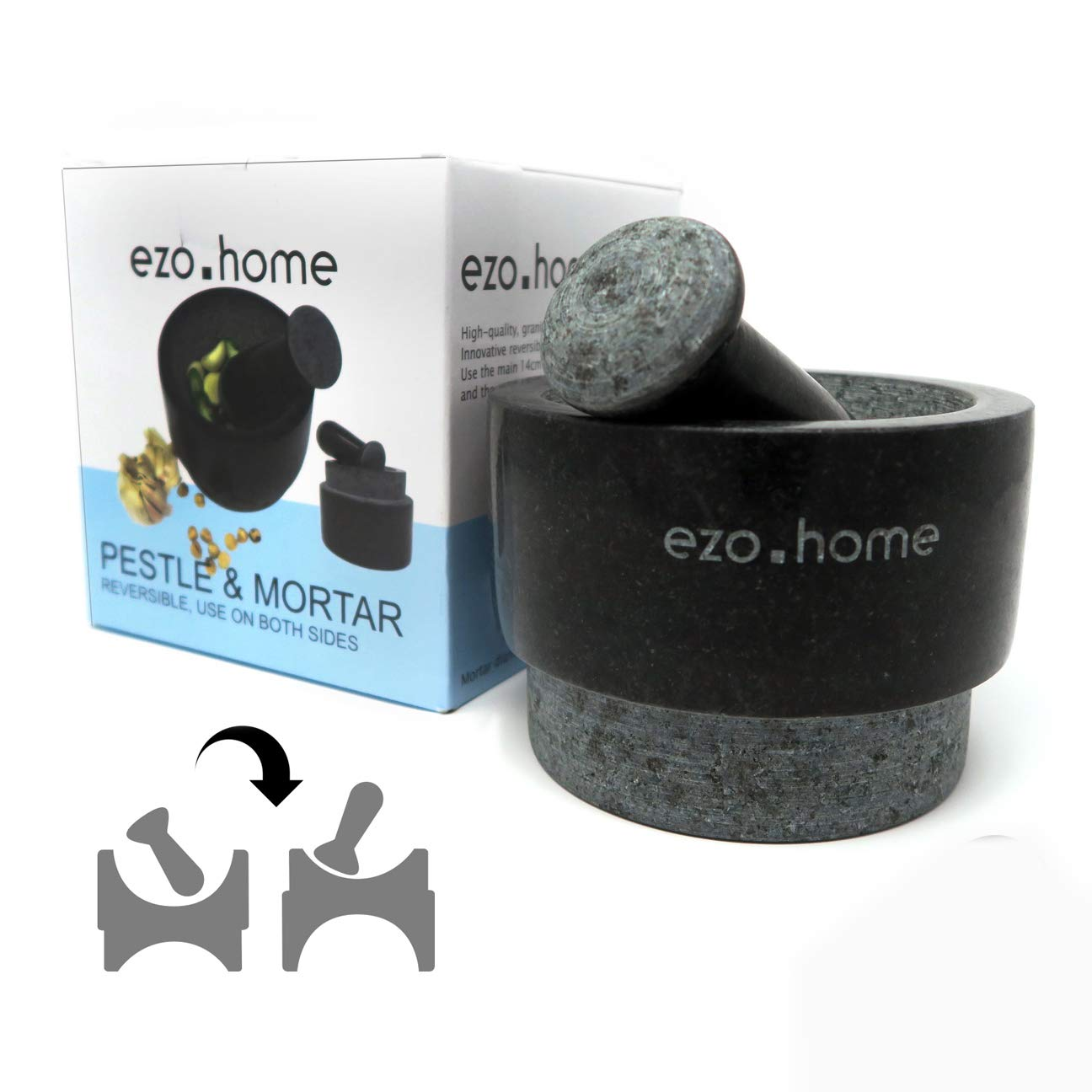 Ezo.Home Granite Pestle and Mortar Set - Reversible Double Side Use Large with Silicone mat