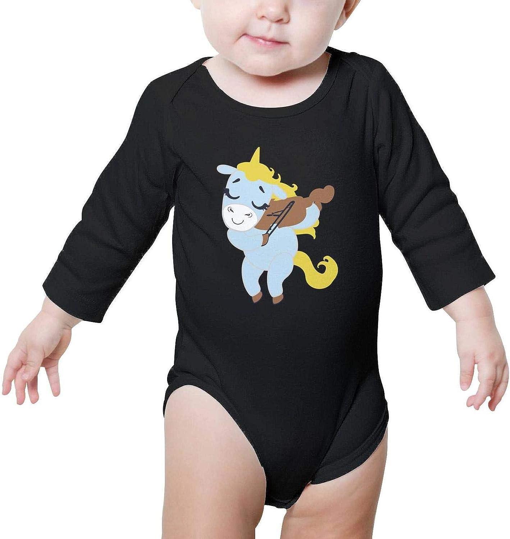 Cartoon Unicorn Violinist Baby Boys Cute Bodysuit Onesies