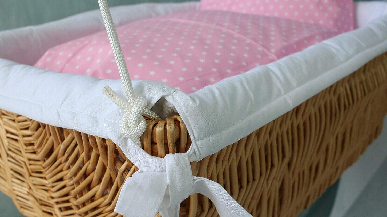 H/ängekorb Babykorb # Babybett # H/ängewiege # STERNE//ROSA mit Federwiege NEU