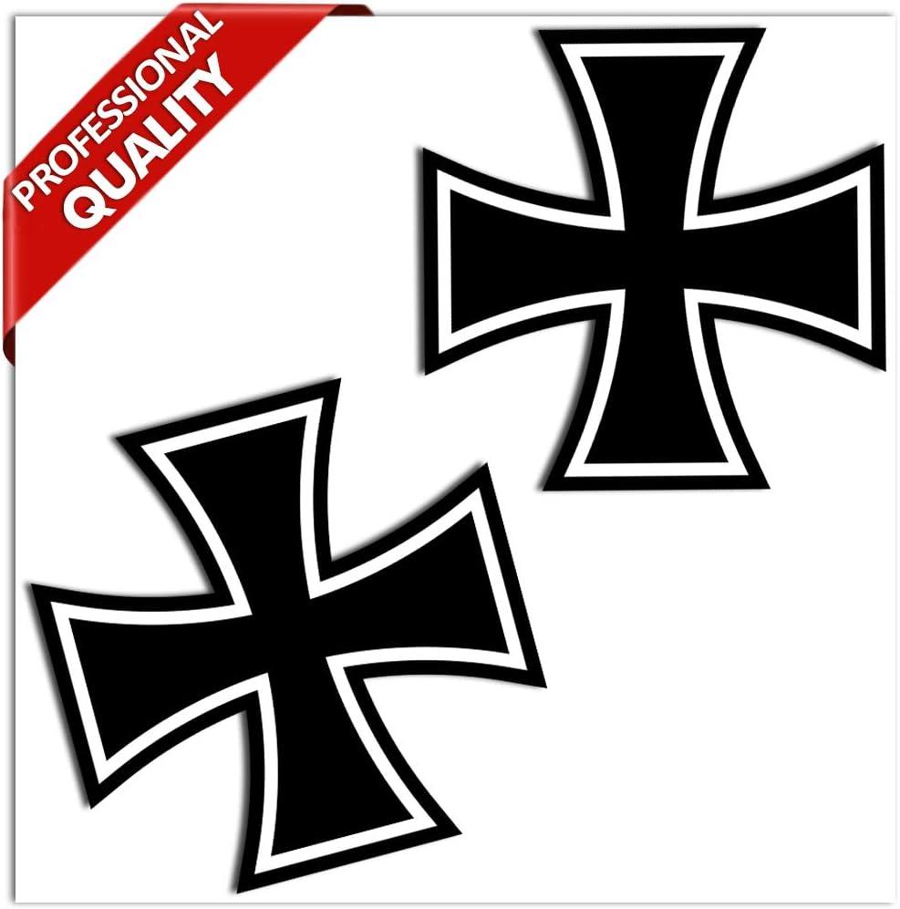 2 x PVC Laminated Iron Cross Stickers B 54