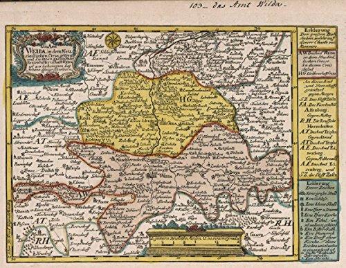 1740 World Atlas   Vol 2 103  Das Amt Weida  In Dem Neustaedtischen Creise Gelegen   Antique Vintage Map Reprint