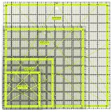 "Image of Arteza Acrylic Quilters Ruler, Double-Colored Grid Lines (4.5""X4.5"", 6""X6"", 9.5""X9.5"", 12.5""X12.5"", Set of 4)"