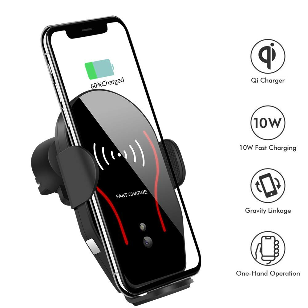 Wireless Car Charger, VIKASI 10W Qi Fast Charging Car Phone Holder, Air Vent Automatic Clamping Car Charger Mount Compatible with Samsung Galaxy Note 9/8/ S9/ S8,iPhone Xs Max/XR/X 8/8 Plus(Black-Red)