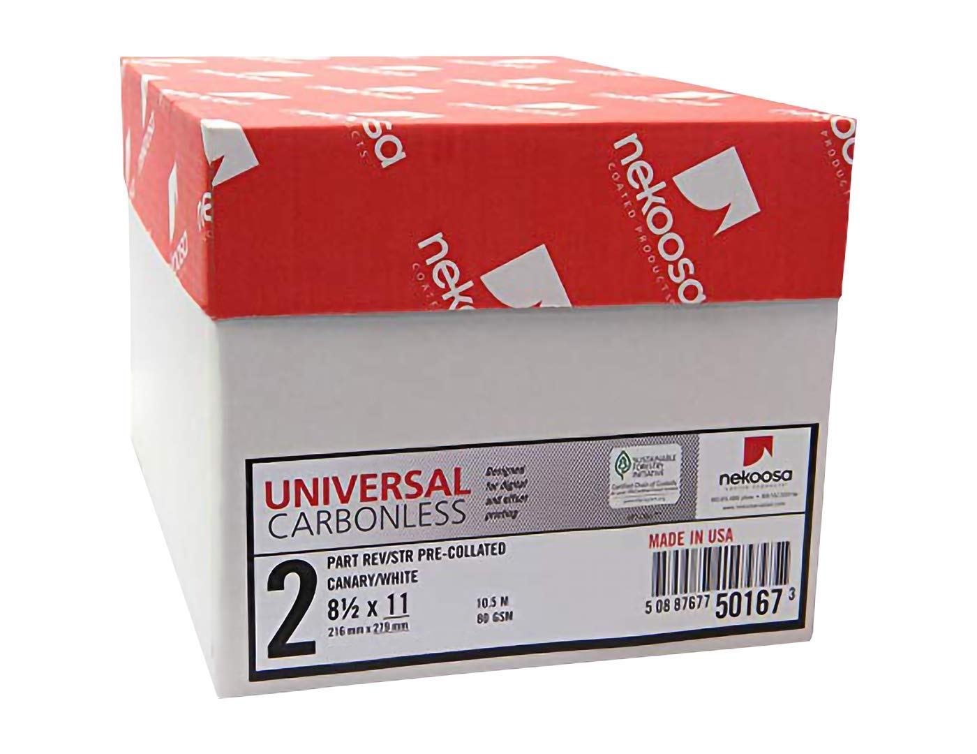 8.5 x 11 Nekoosa Universal Carbonless Paper, 2 Part Reverse (Bright White/Canary), 1250 Sets, 2500 Sheets, 5 Reams by PSD