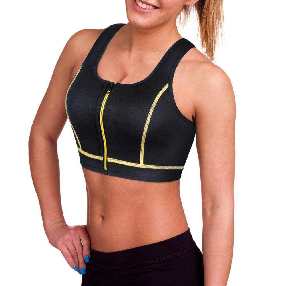 CtriLady Women's High Impact Neoprene Wetsuit Crop Tank Top Full Cup Sport Bra Vest for Surfing Snorkeling Swimming Paddling (Black Yellow Wetsuit top, Small)