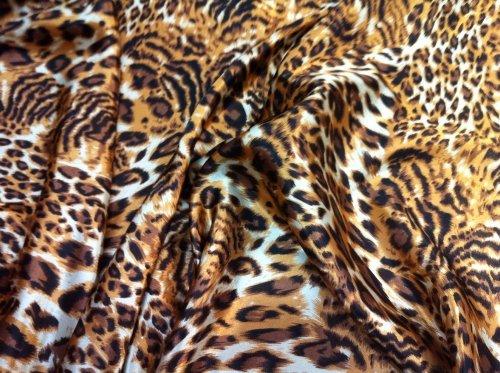 Lt Brown/beige/black Leopard Print Charmeuse Satin Fabric 60