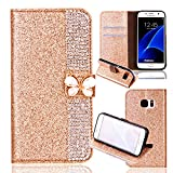 Samsung S6 Leather Case,Samsung S6 Flip Wallet Case,Case for Samsung S6,Cool 3D Funny Cute Butterfly Bling Glitter Diamond Pattern Leather Stand Function Flip Kickstand Magnetic Book Wallet with Card Slot Holder Protective Cover Case for Samsung S6
