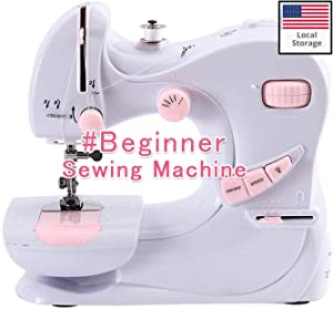 Portable Sewing Machine Beginner Mini Sewing Machines with Foot Pedal, Heavy Duty Desktop Electric Overlock Sewing Machines, Household Sewing Handheld Tool, 5 Stitches 2 Speed