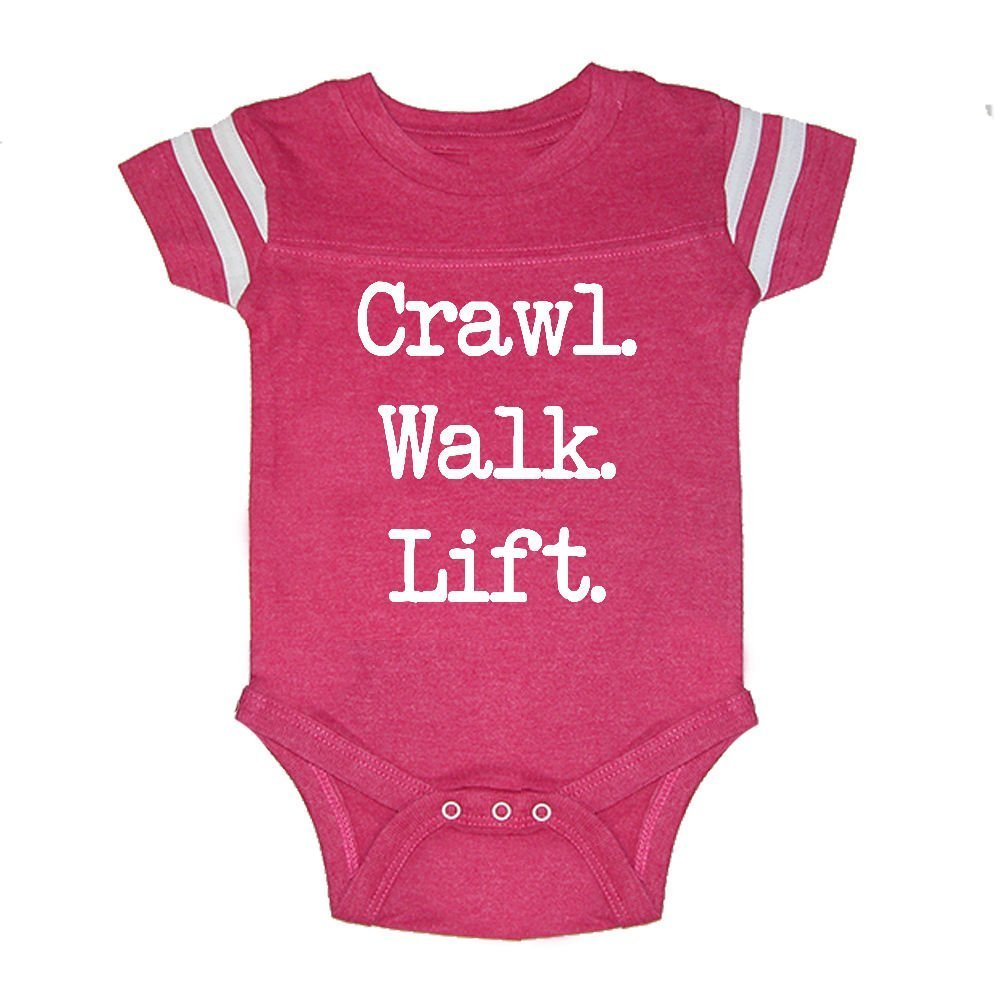 LOL Baby! Crawl Walk Lift Baby Football Jersey Bodysuit (Vintage Hot Pink, 6 Months)