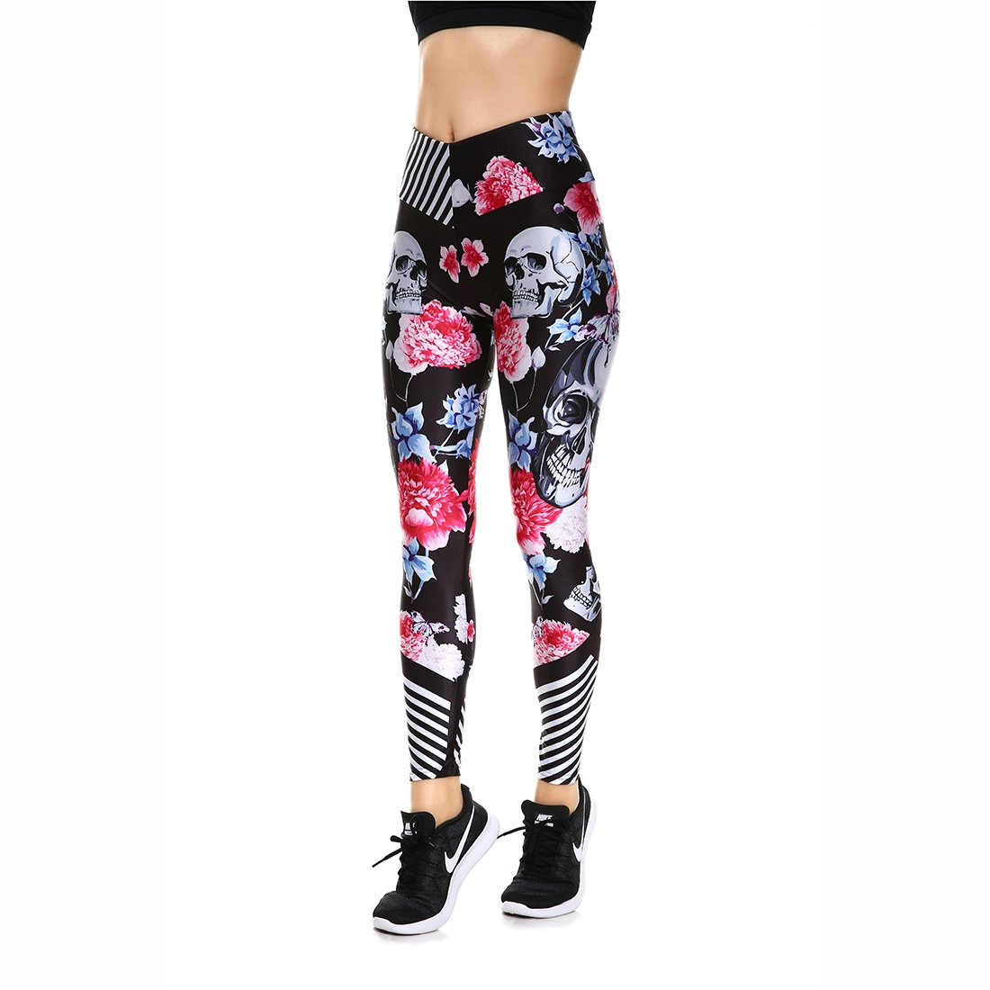 Lesubuy V Wide Waistband Full Length High Waisted Compression Gym Athletic Exercise Leggings Workout for Women XS-XL