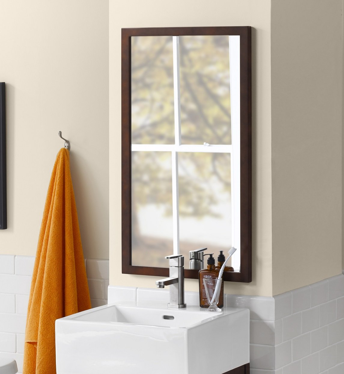 RONBOW Alina 17'' x 31'' Contemporary Solid Wood Frame Wall Decor Rectangle Bathroom Mirror in Vintage Walnut 600118-F07