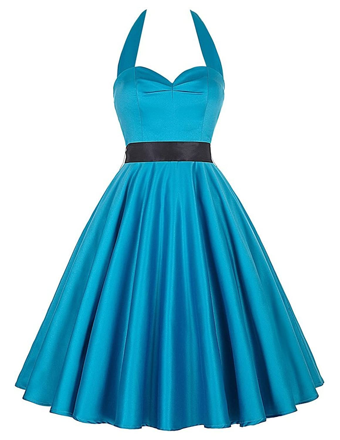 Women's Vintage 1950's Halter Knee-Length Cocktail Party Dresses