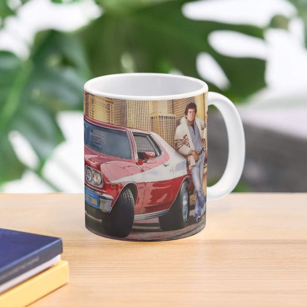Starsky Chicago Ford TV Hutch Striped Tomato Show Cops Car Torino and Muscle Taza de caf/é con Leche 11 oz