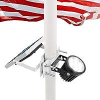 Solar Flagpole Light,Flag Pole Light Solar Powered Bracket Design Fits 1.4-3' Flag Pole 2 Brightness Dusk to Dawn IP65…