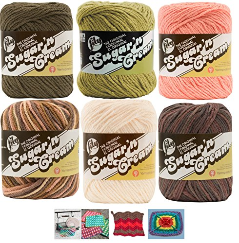 Lily Sugar n' Cream Variety Assortment 6 Pack Bundle 100% Cotton Medium 4 Worsted with 4 Patterns (Asst 56) ()