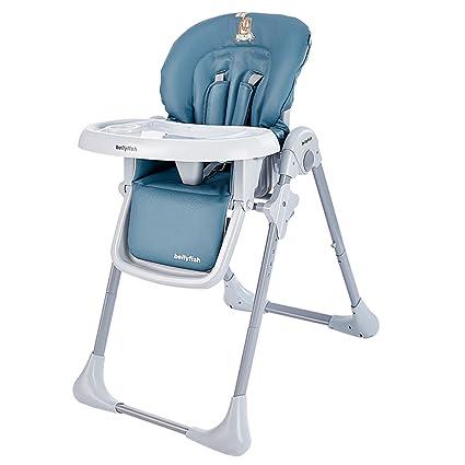 Trona de bebé con bandeja Silla de comedor portátil Silla reclinable (azul)