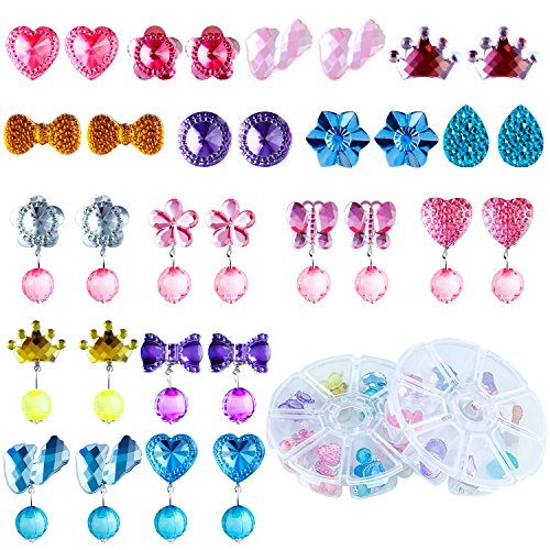 (Aneco 16 Pairs Crystal Clip-on Girls Earrings Girls Play Earrings Princess Clip on Earrings Set for Party Favor Packed in 2 Clear Boxes)