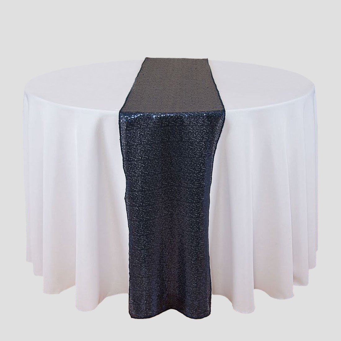 LinenTablecloth 14 x 108 in. Sequin Table Runner Navy Blue 14RNR-510178