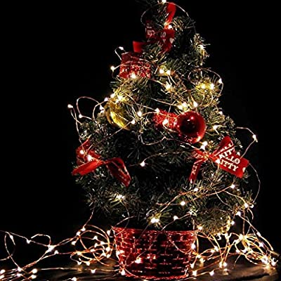 OKPOW 4 Sets Fairy Starry LED String Lights Batteries Included for Christmas Wedding BBQ Party Xmas Tree Light Mason Jar Table Bed Decoration with Warm White Light(Each One 2M/20LED)