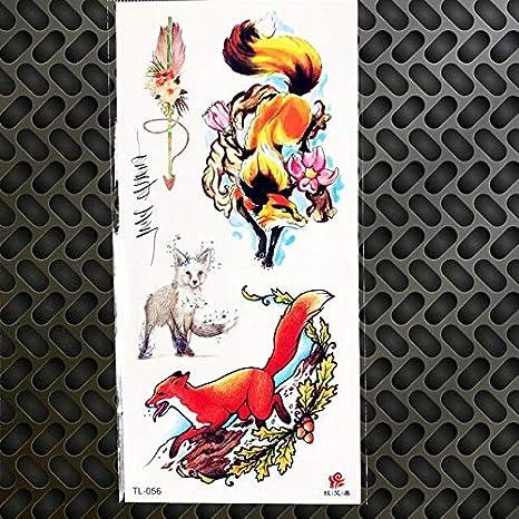 HXMAN 5 Unids Geometricta Tatuaje Pegatina Lobo Gatos Panda Oso ...