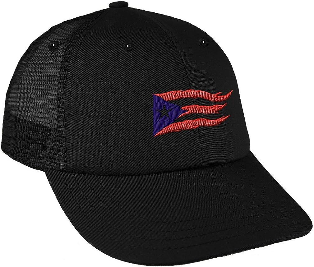 Cotton Hats Adjustable Mens Denim Baseball Caps Flag of Puerto Rico Funny