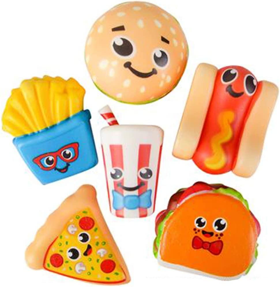 ArtCreativity Fast Food Squeeze Toys for Kids, Set of 6, Super Soft Slow Rising Stress Relief Toys in 6 Cute Designs, Squeezable Birthday Party Favors and Goodie Bag Fillers