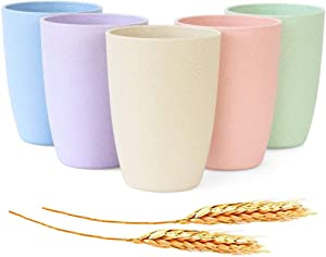 JUCOXO Unbreakable Wheat Straw Cups - 12 OZ Reusable Lightweight Tumblers - Sets 5 BPA Free Drinking Cup Bathroom Stackable Toothbrush Cups - Dishwasher Safe