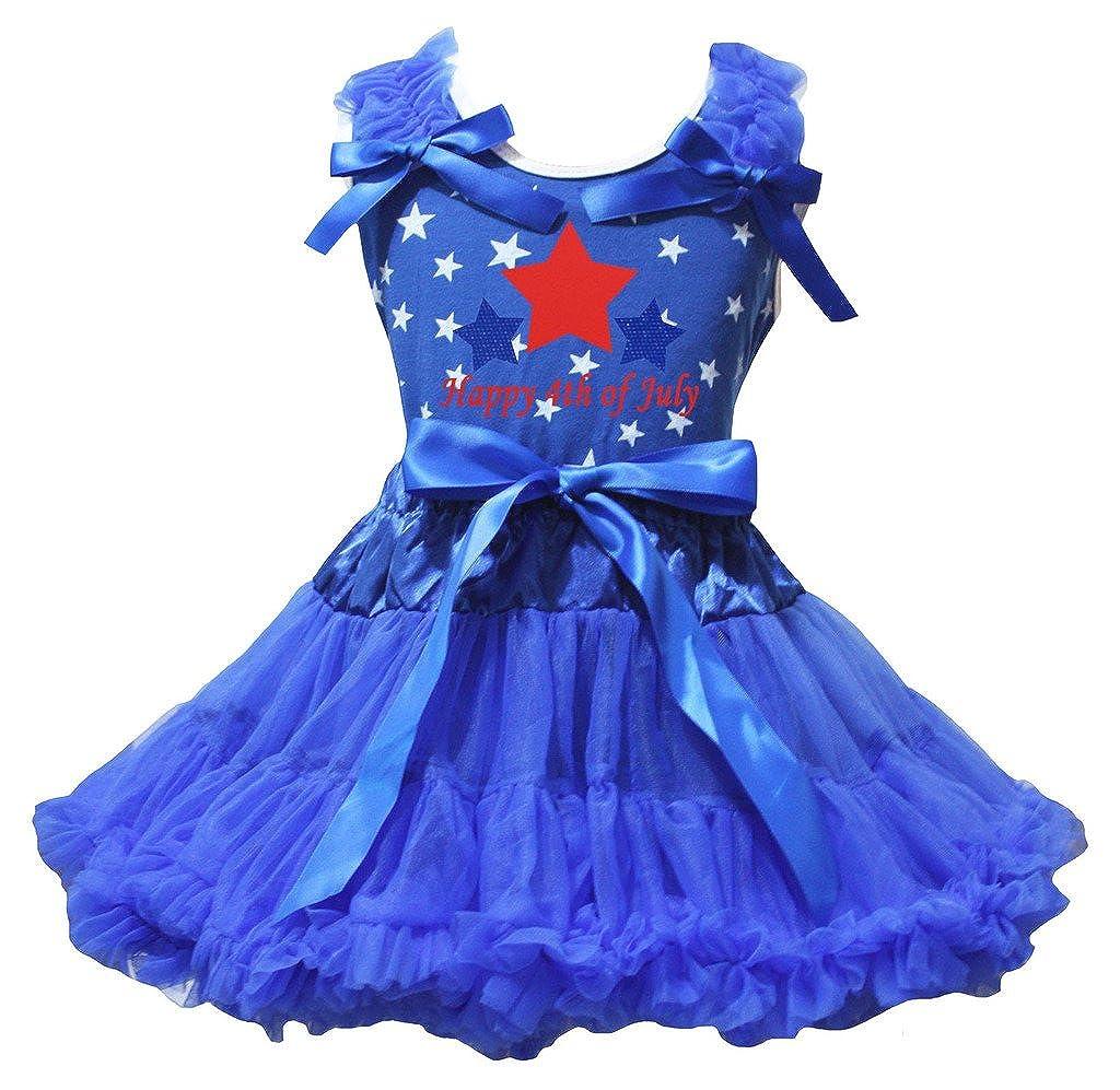 Petitebella Dress Happy 4th of July Stars Shirt Ribbon Royal Blue Skirt Set 1-8y