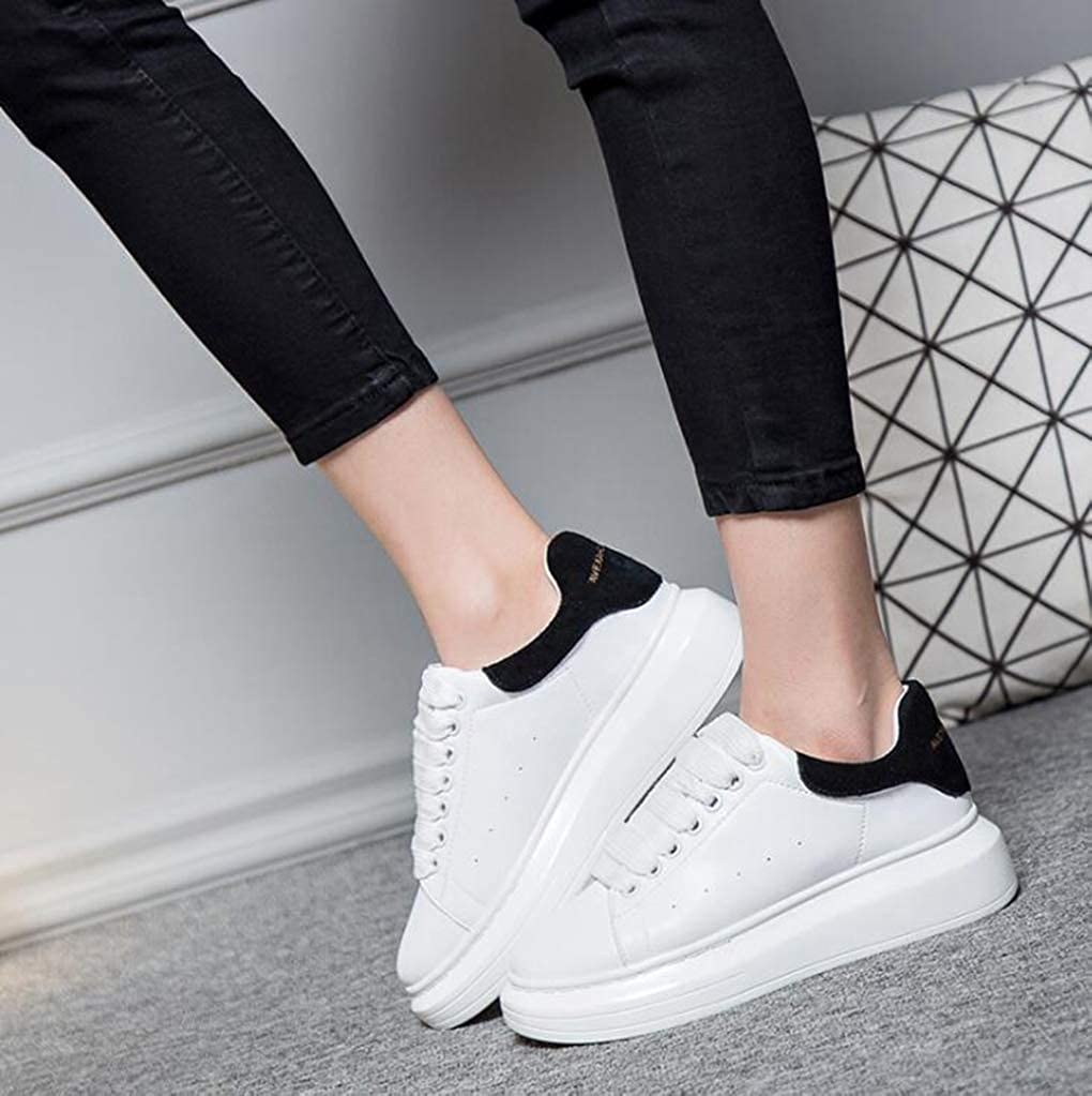 Femmes Blanc Creepers Chaussures Bout Rond Lace Up Platform Sneakers Casual Low Top Respirant Appartements Running Randonnée Chunky Trainers Noir