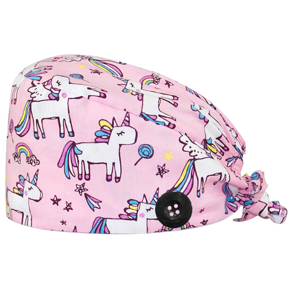 CHUANGLI Cute Printed Working Cap with Sweatband Adjustable Tie Back Hats for Women/Men