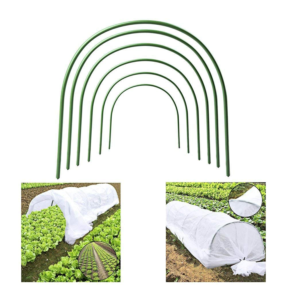 AHZZY Protective Row Cover with Greenhouse Support Hoops, 6Pack Adjustable 4ft Long Garden Grow Tunnel with 0.9oz Non-Woven Row Cover for Greenhouse UV Frost Protection