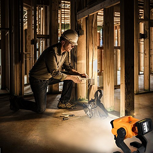 LED Work Light Battery Powered - Enegitech 20W 2800LM 4000K LED Working Light Powered by Cordless Tool Battery and DC Adapter, Multiple Mount for Jobsite, Workshop, Construction Site by Enegitech (Image #6)