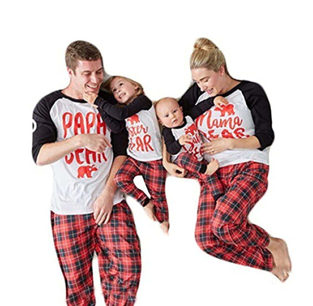 Lesimsam Papa Mama Kids Baby Bear Family Matching Christmas Pajamas Sets for The Family