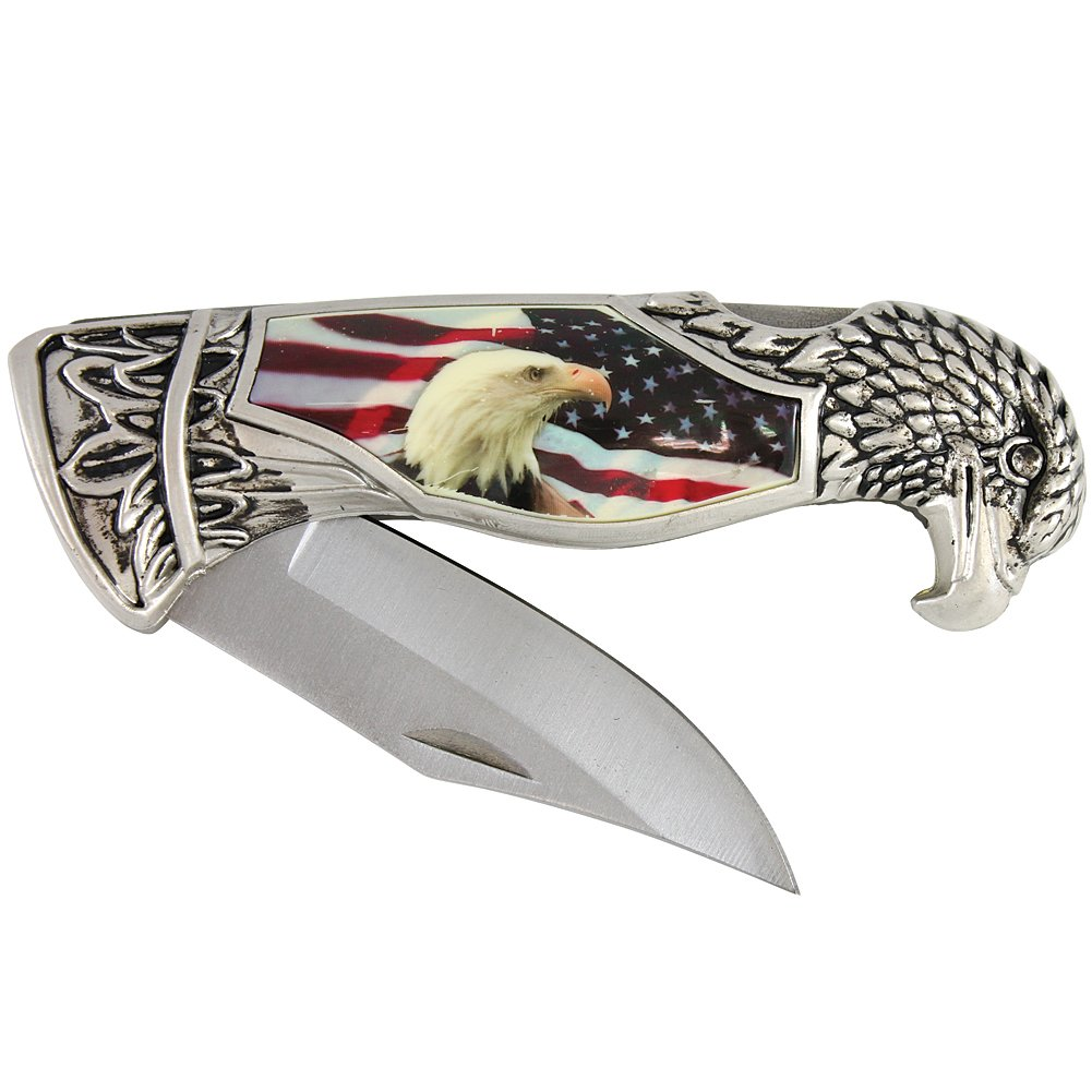 USA Flag Eagle Knife w Gift Box Case
