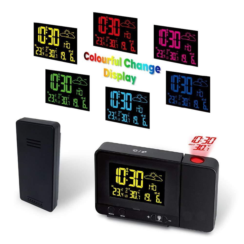 Projection Alarm Clock, Snooze Function Digital Display Color Change, Date Backlight Projector LED Alarm Clock, USB Charging, for Bedroom, Kitchen, Kids by YL-light