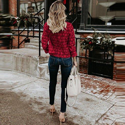 Volants Manches Femmes Tops O Longues Nouveau Mode Blouses Automne Cou Ourlet Creux T Printemps Rouge Casual Dentelle Shirt zahuihuiM APOqHFdnq