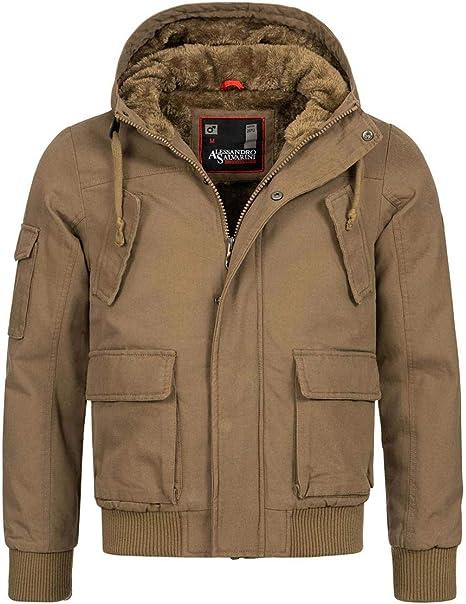 A. Salvarini warme Herren Designer Winter Jacke Teddyfell
