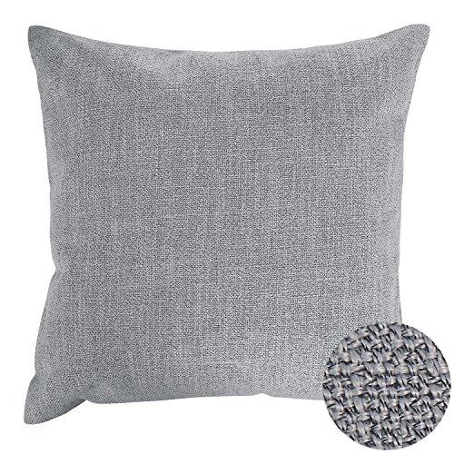 Grey Throw Pillow (Deconovo Woven Fine Faux Linen Throw Cushion Case Pillow Cover With Invisible Zipper For Car, 18x18-inch, Grey)