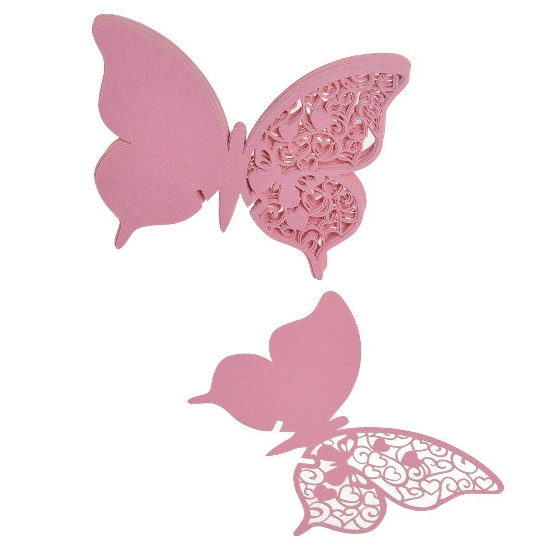 50pcs Tarjeta de Copa Vaso Forma Mariposa Rosado para Navidad Fiesta Boda