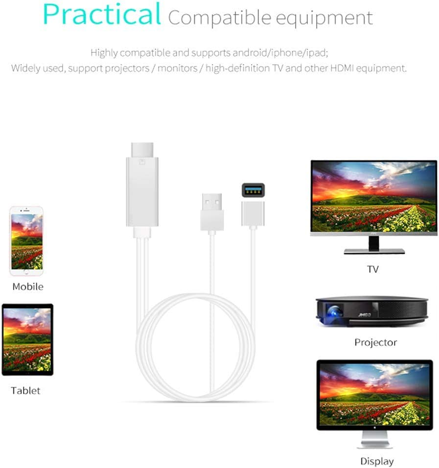 1080P Bluetooth HDMI Cable for Phone to TV MiraScreen Compatible with iPhone iPad Android to HDMI Cable for TV