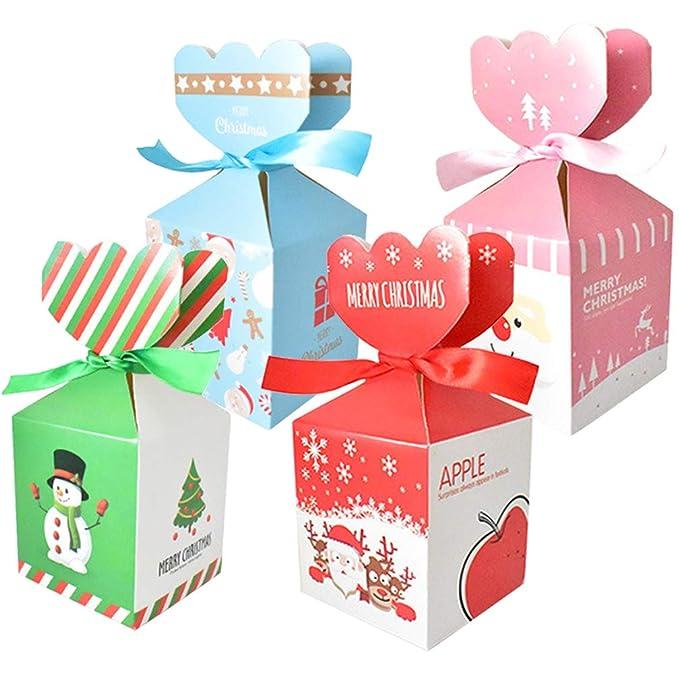 Syolee 24 cajas de regalo de Navidad, bolsas de papel para caramelos y frutas con elementos de Navidad para Navidad, bodas, festivales, fiestas, ...